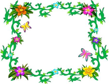 緑豊かな熱帯の植物や蝶のフレーム