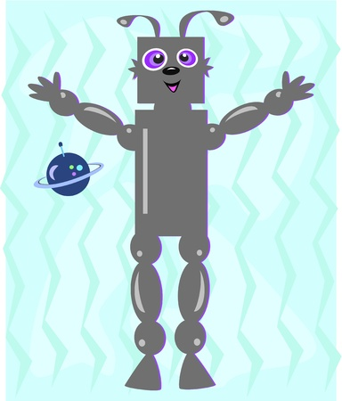 Alien Robot with Blue Planet Vector