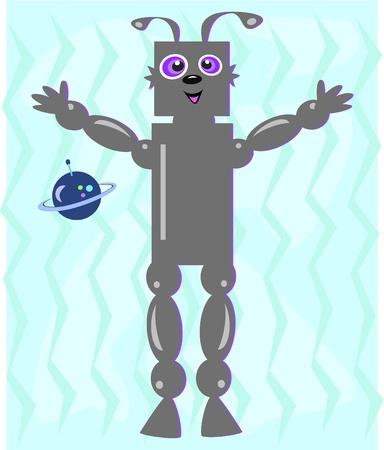 nose ring: Alien Robot with Blue Planet Illustration