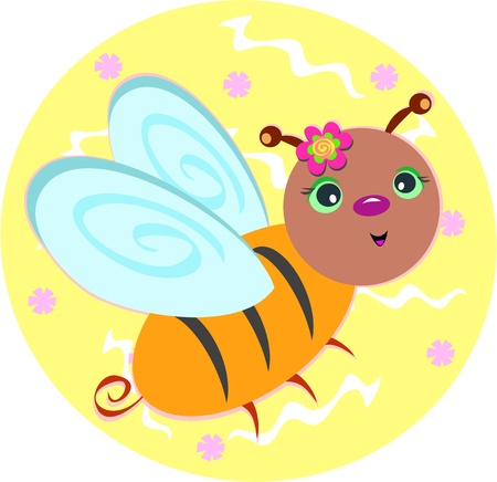 Sweet Bee with Floral Background Vector