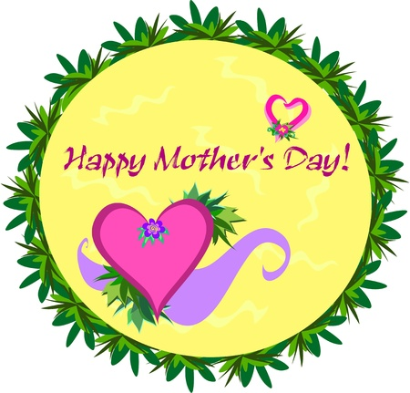 day: Happy Mother's Day Greeting Circle Illustration