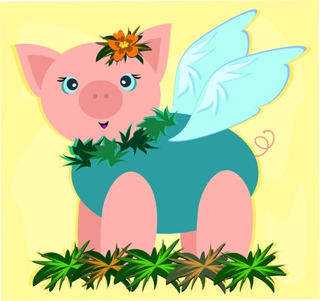 Tropical Pig in a Garden Stock Vector - 9241938