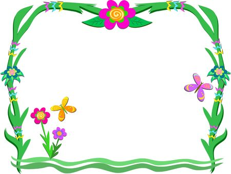 Plant Frame with Flowers and Butterflies