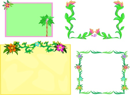 Mix of Tropical Frames with Plants Stock Vector - 9270817