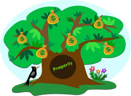 Money Tree of Prosperity with Crow Vector