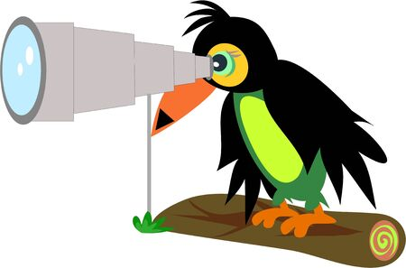 Toucan with Telescope Stock Vector - 9270796