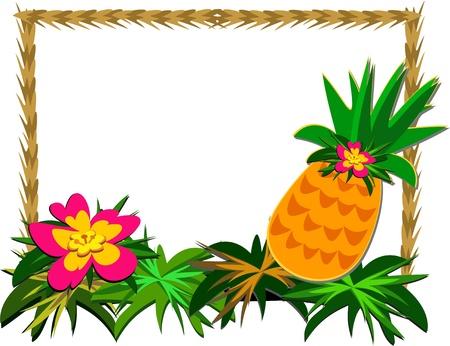 トロピカル パイナップルと花のフレーム  イラスト・ベクター素材