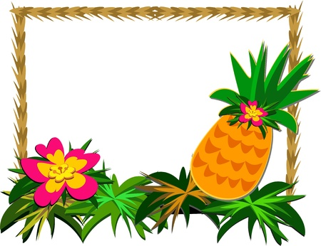 Frame of Tropical Pineapple and Flower 일러스트