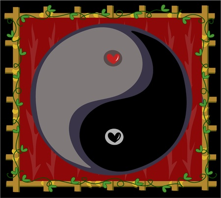 Yin Yang Symbol of Balance with Hearts Vector