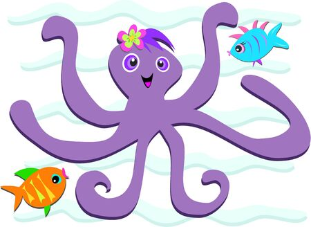 Octopus with Fish Friends Stock Vector - 9307835