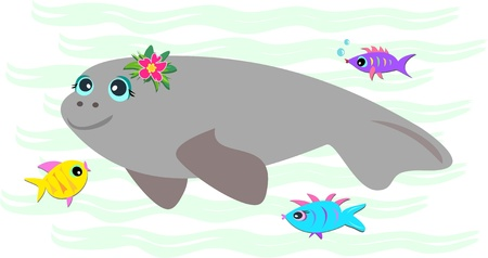 gills: Peaceful Manatee with Friendly Fish