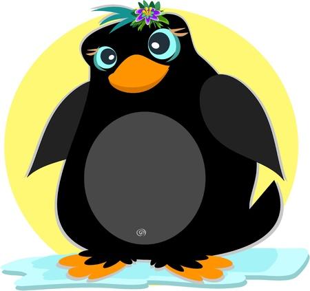 Penguin op een ijsberg Stock Illustratie