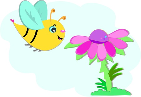 Big Bee and Pink Flower Vector