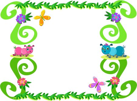 Frame of Ants, Plants, and Butterflies Vector