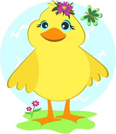cartoon duck: Duck with Butterfly and Flowers Illustration