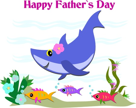 Happy Father's Day Greeting with Shark and Fish Illustration