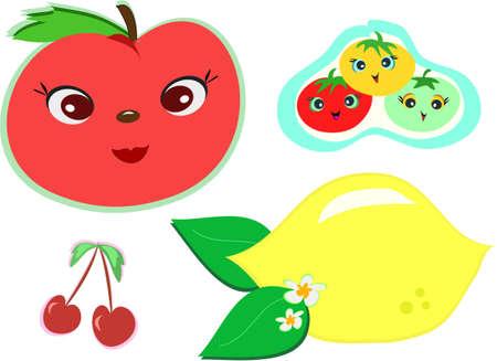Mix of Cute Fruits Иллюстрация