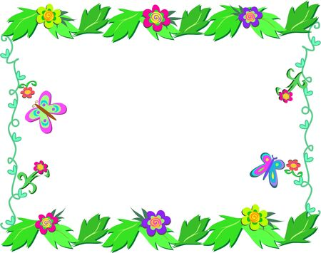 Framed Garden with Plants and Butterflies Ilustrace