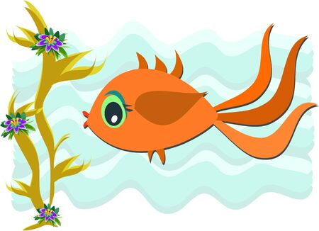 Gold Fish Swimming Stock Vector - 9357885