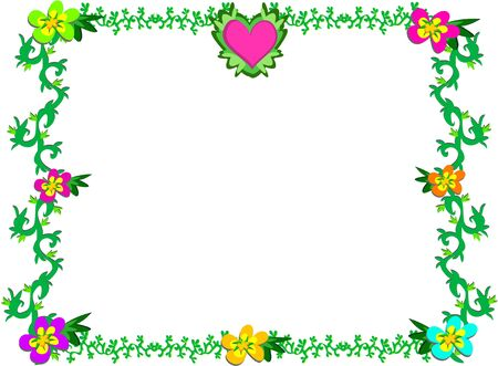 Frame of Heart, Flowers, and Vines