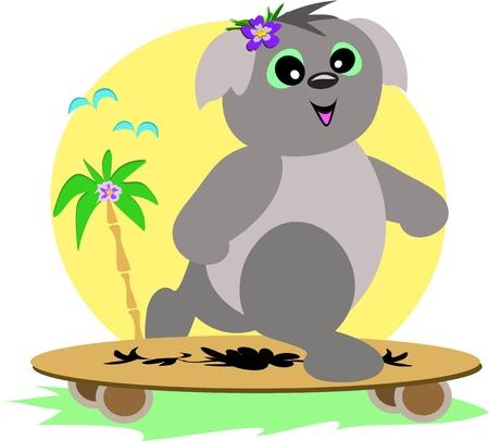 Koala on a Skateboard Vector