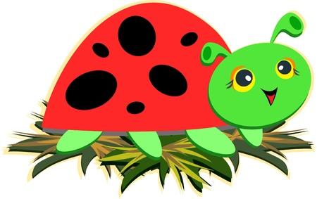 Green Stylized Ladybug Vector