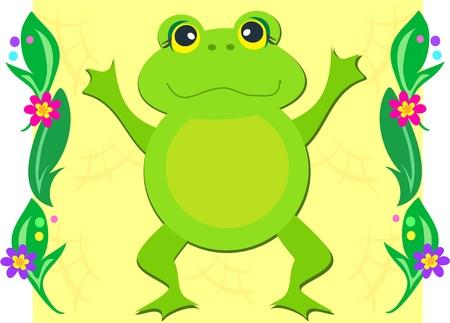 Happy Frog in a Garden Vector
