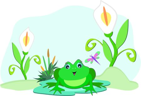 Frog with White Lilies Vector
