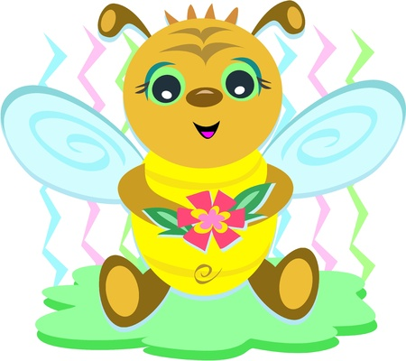 Baby Bee with Flower Vector