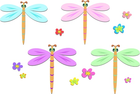 Mix of Dragonflies and Flowers Stock Vector - 9404354