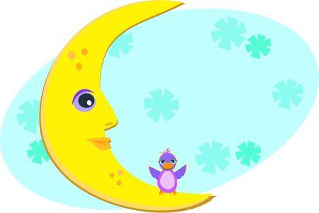 moon: The Moon and a Bird Illustration