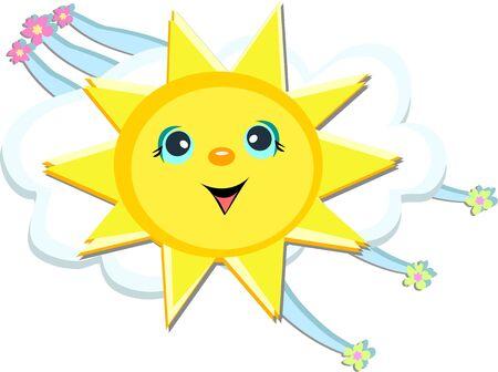 Sun felice con fiore Streamers Archivio Fotografico - 9462278