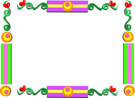 Whimsical Frame with Shapes and Hearts