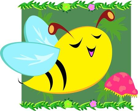 Happy Bee Sings Illusztráció