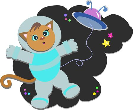 Cat Astronaut with Flying Saucer Stock Vector - 9507055