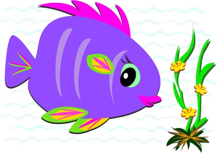 Colorful Fish and Sea Flowers Vector
