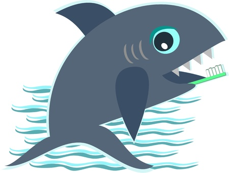 Baby Shark and Toothbrush Vector
