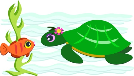 green turtle: Tartaruga verde e arancione pesce