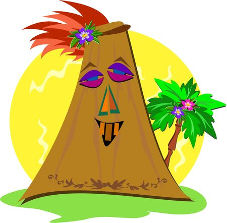 Stylized Tiki with Palm Tree Vector