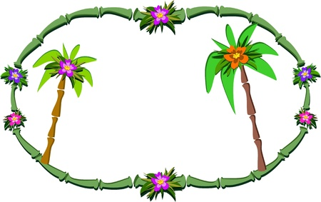 Bamboo Frame with Flowers and Palm Trees