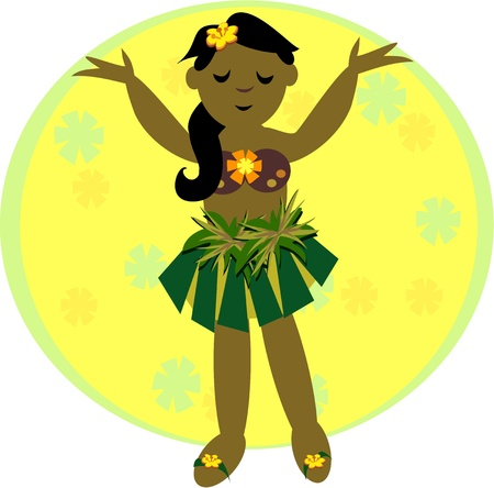 Hula Girl Dancing Vector