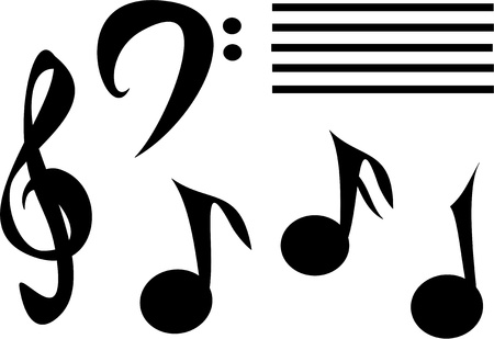 Mix of Musical Notes Illustration