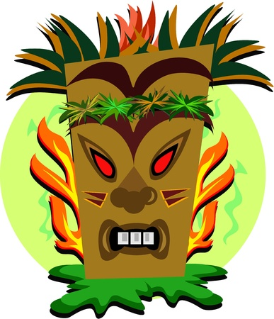 Tiki Teeth and Flames Illustration