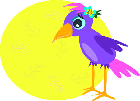 Purple Bird with Message Circle Vector