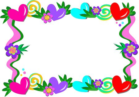 Frame of Hearts, Spirals, and Flowers Illustration