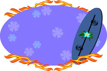 Surfboard Sign with Flames Vector