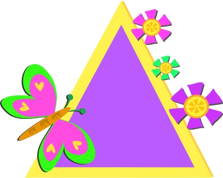 Colorful Triangle Frame with Butterfly and Flowers Illustration