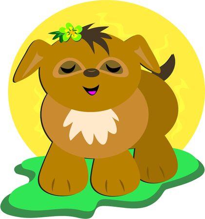 tanning: Dog Tanning Illustration