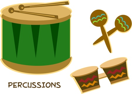 Mix of Percussion Instruments Иллюстрация