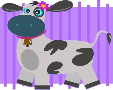 Cow with a Bell Illustration